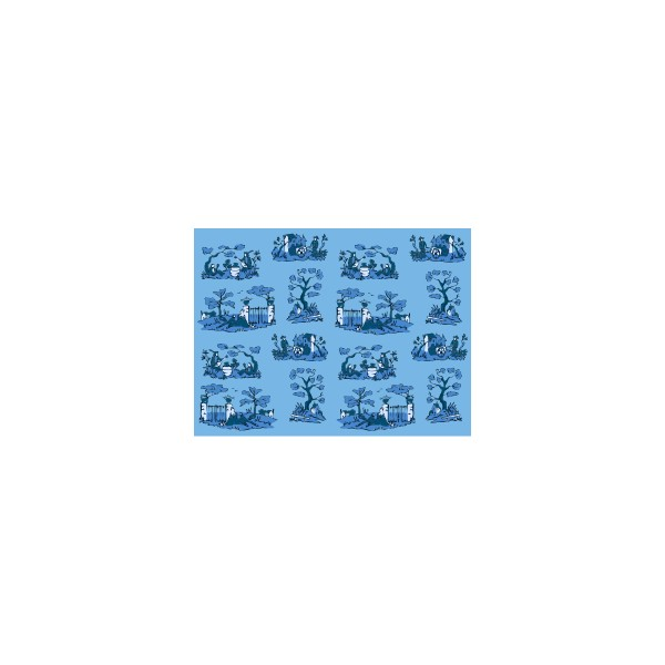 Set de table motif bucolik bleu ouessant deco tissus for Set de table bleu